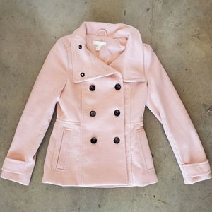 H&M Light Pink Button Peacoat